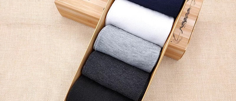 5 Pairs Men's Breathable Cotton Socks In Goft Box