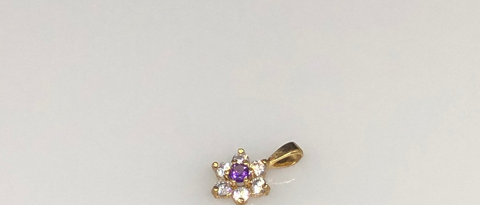 Exquisite Cubic Zirconia and Amethyst Flower Design Small Gold Pendant