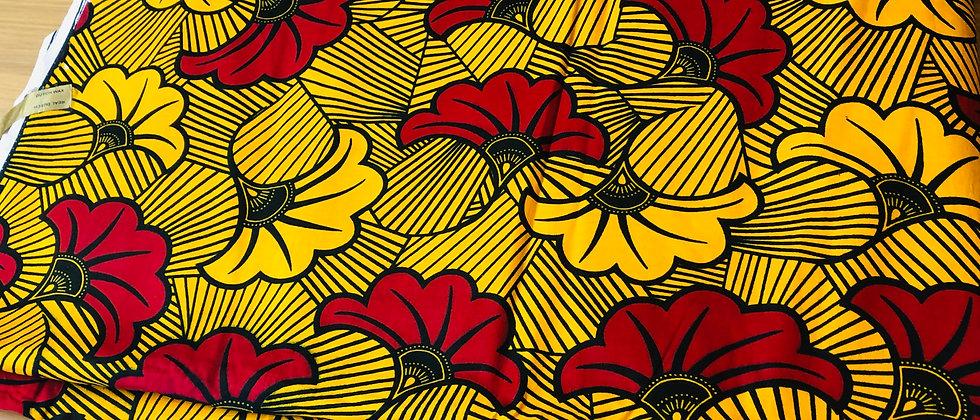 African Ankara Wax Print Fabric, Yellow/Red Flower
