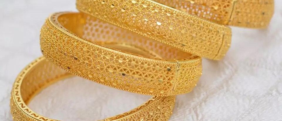 2PCS Set High Quality 24K Gold Plated  Hinged Bangle