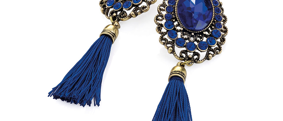 Burnished gold colour royal blue bead and thread tassel drop earring