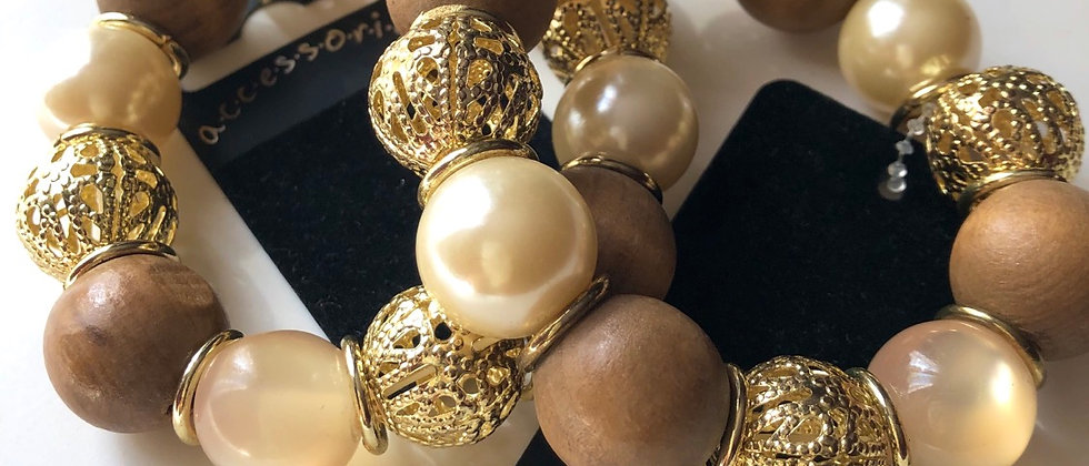 Gold Pearl and Wooden Bead Bracelet