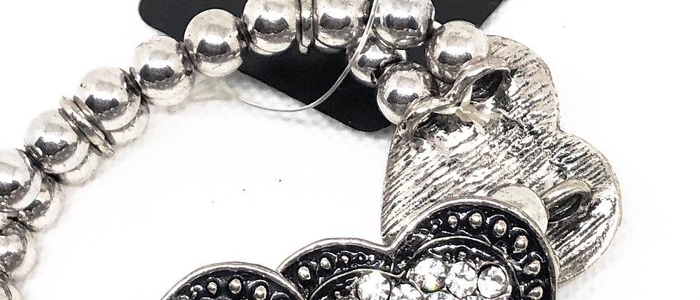 Diamanté Crystal 3 Heart Elasticated Bead Bracelet