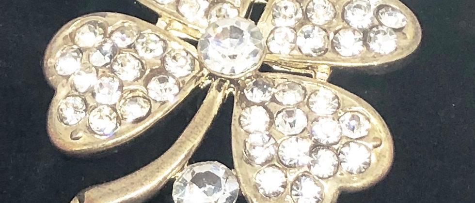 Diamanté Flower Brooch Pin