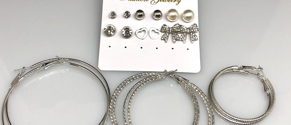9 Pairs Of Silver Colour Hoops Studs and Bow Ladies Earrings