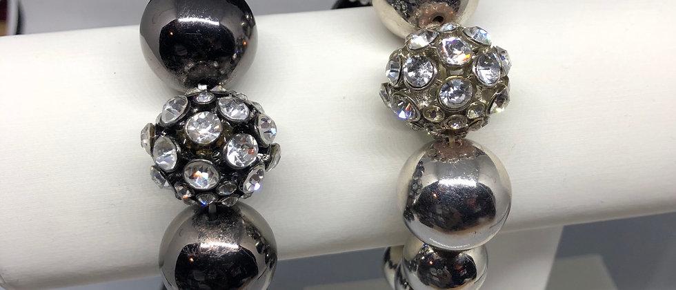 Diamanté Crystal Bead Detail Elasticated Bracelet
