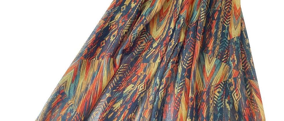 African Stripe Print Scarf, Tassel Scarf, African Stripe Print Tasselled Corner