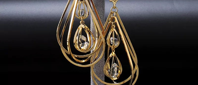Crystal Drop 18k Gold Plated Statement Earring