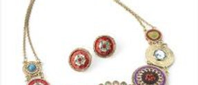 Gorgeous Flower Multi-Discs Necklace and Earring