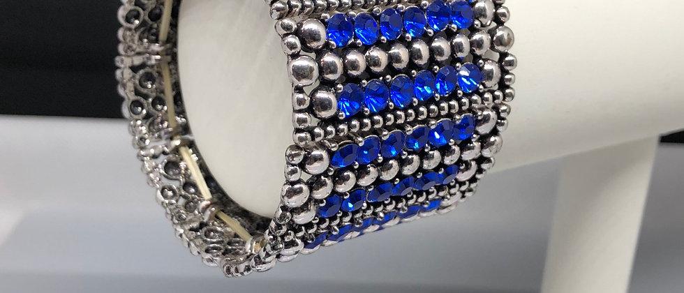 Blue and Silver Diamanté Elasticated Bracelet