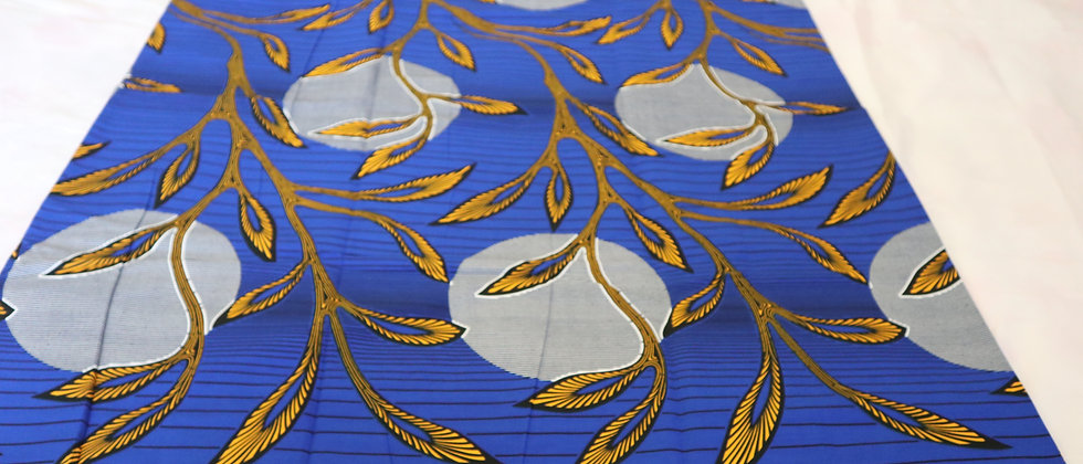 Blue African Print, Ankara Fabric, Leaf and Moon Pattern