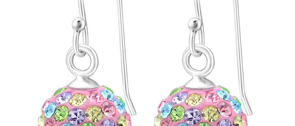 Crystal Sterling Silver Ball Earring,  925 Sterling Silver Crystal Earring