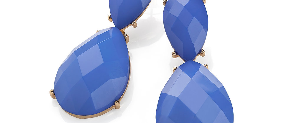 Gold colour light blue oval faceted design drop earring.