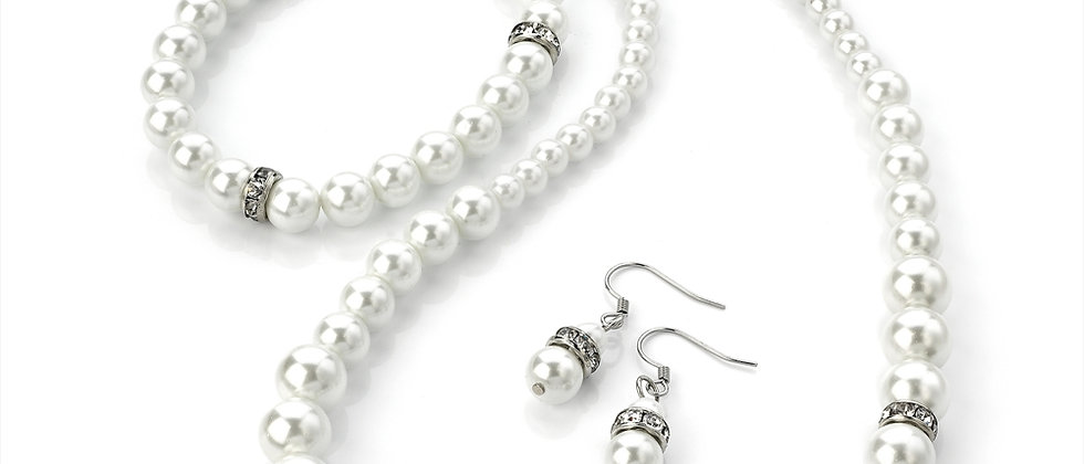 Fabulous Pearl And Diamanté Crystal Necklace Earring And Bracelet Set