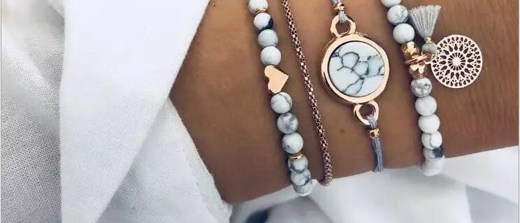 4 Set Boohoo Trendy Marble Effect Bead Cord and Chain Bracelet