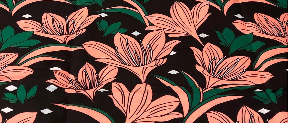 Wide Flower Polyester African Wax Print Fabric
