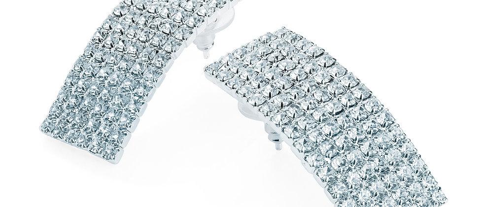 Silver Colour Diamanté Stud Earring