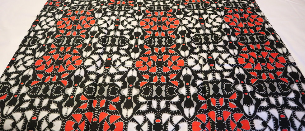 African Ankara Fabric, 6 Yards, Red/White/Black, Ankara Pint, African Print