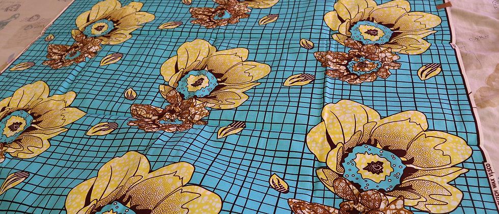 Big Yellow Flower Design African Ankara Wax Print Fabric