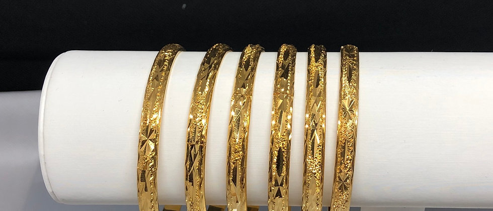 2PCS Ladies  18K Gold Plated Hinge Bangle Set