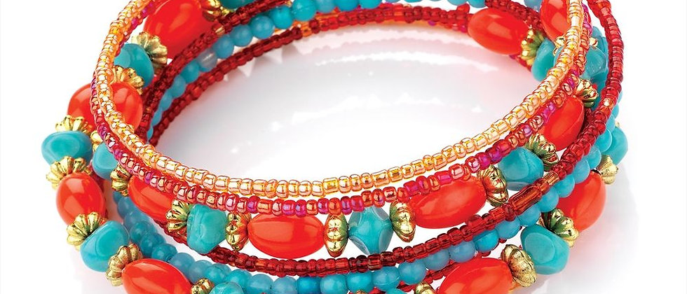 9-row-turquoise-coral-colour-coil-bangle