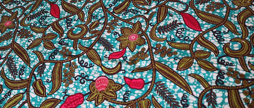 Floral African Print Fabric, Ankara Wax Fabric, Ankara Cotton 6 Yards