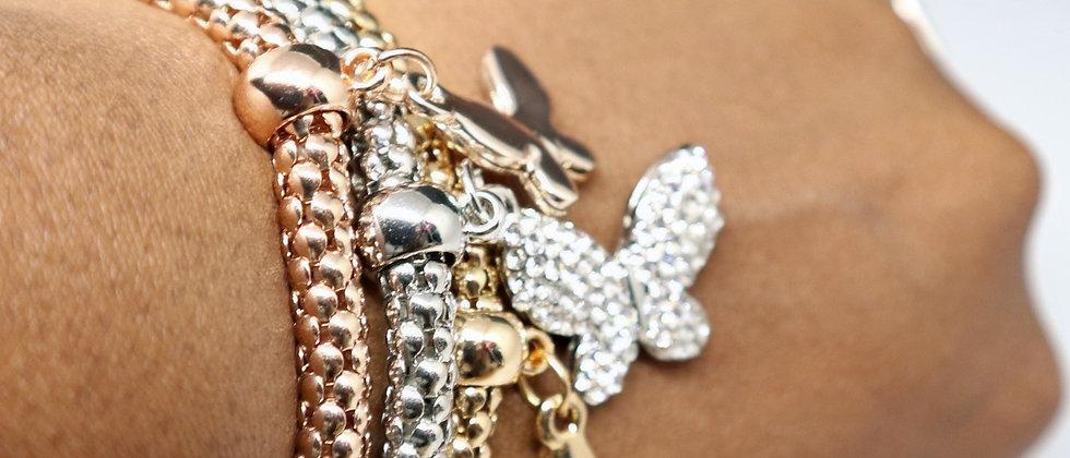 3 Pcs Elasticated Crystal Butterfly Bracelet