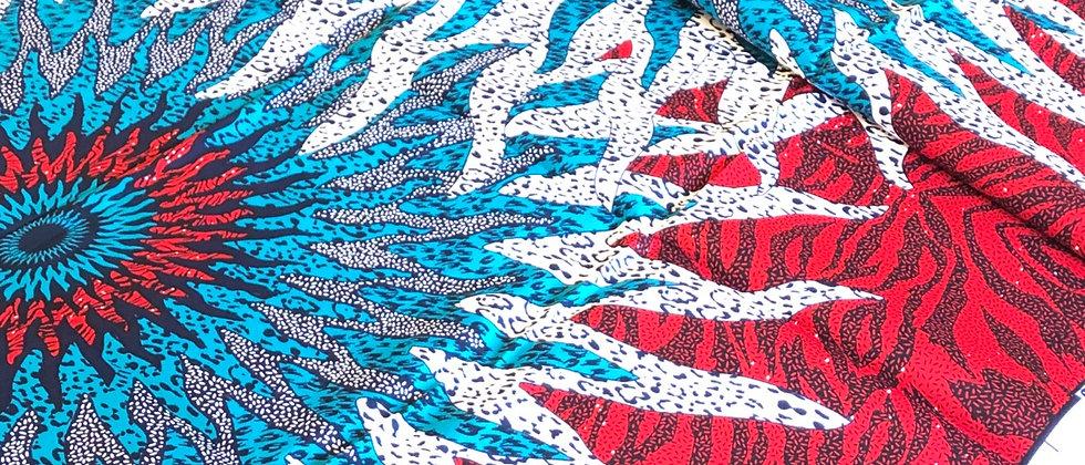 Flower Burst African Wax Print Fabric