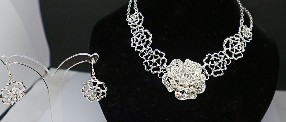 Diamante Crystal Flower Design Necklace and Earring Set
