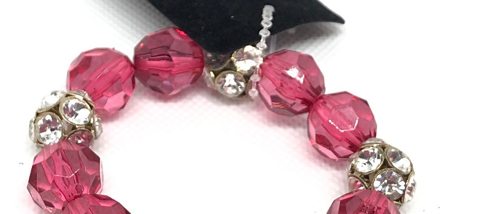 Crystal Diamanté Bead Ball and Bead Elasticated Bracelet