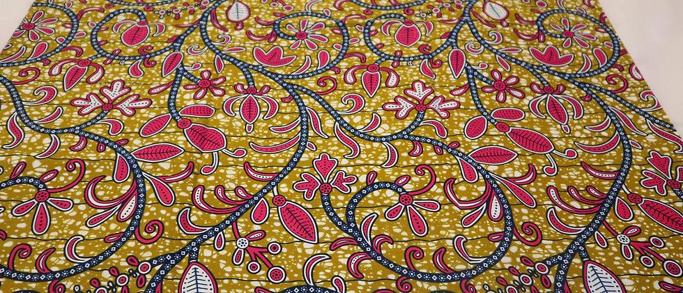 African Print Fabric, Julius Holland 6 Yards Olive Green/Fuchsia Pink Flower