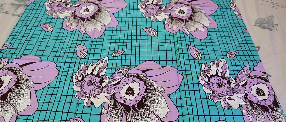 Big Purple Flower Detail African Ankara Wax Print Fabric