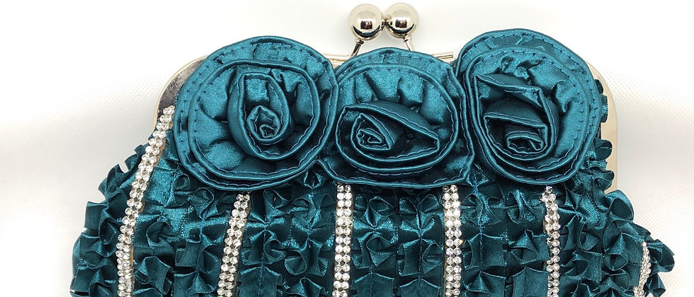 3 Roseette Diamanté Clutch Bag