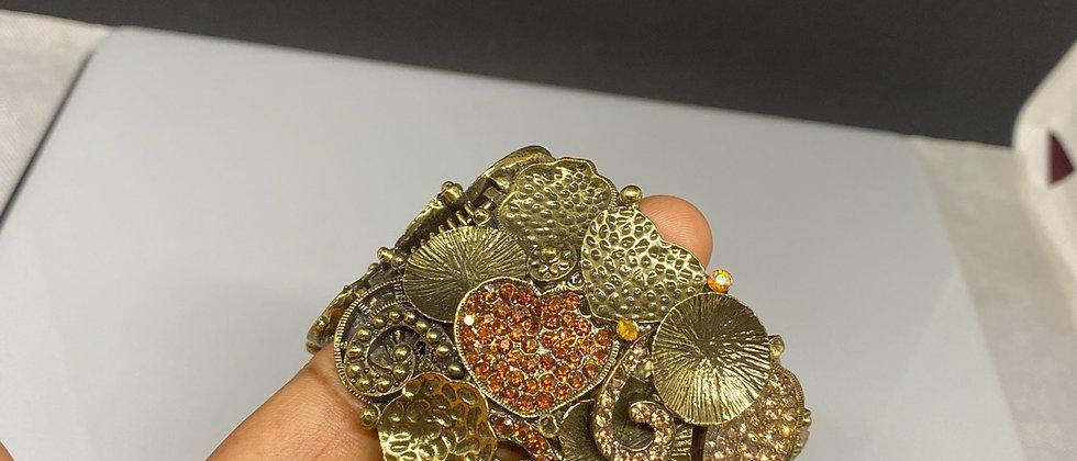 Unique Diamanté Stone Flower Detail Hinge Bangle