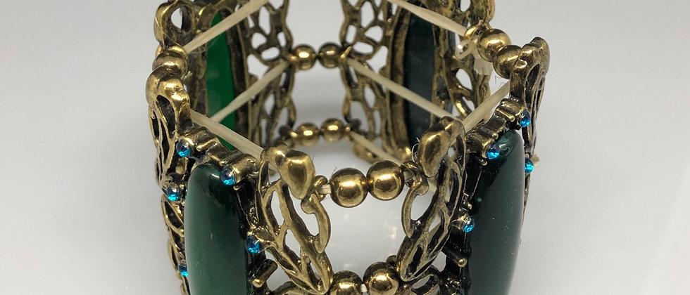 Antique Gold Effect Green Stone Elasticated Bracelet