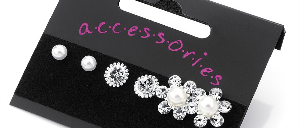 Beautiful Diamanté Crystal 3 Different Design Earrings
