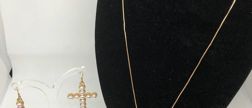 Classic Pearl Cross Detail Long Chain Necklace and Earring Set