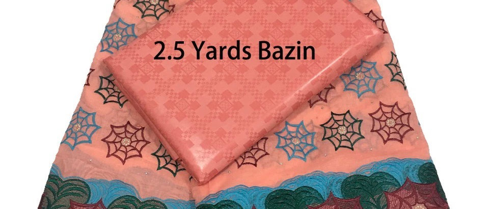 Cotton Embroidered Lace and Bazin Fabric