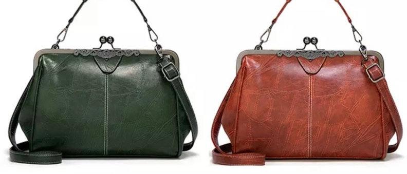 Vintage Dumpling Women PU Leather Tote Bag.