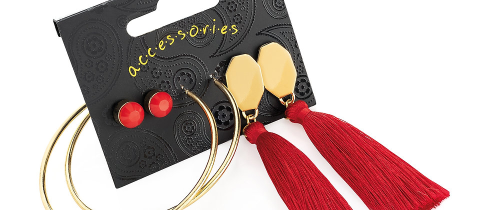 Gold colour stud, hoop and red tassel drop earring set