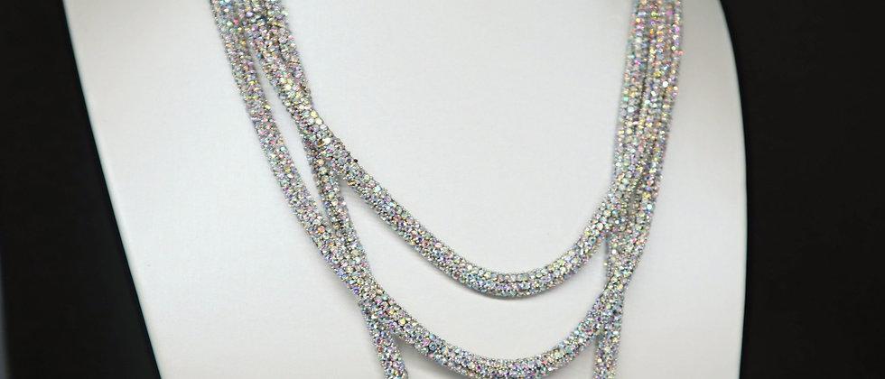Hematite 3 Strand Crystal Diamante Statement Necklace