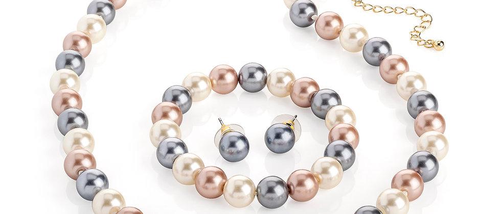 3 Pieces Multi-Colour Pearl Effect Jewellery Set, Pearl Jewellery Set