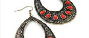 Burnished Gold Red Stone Earring