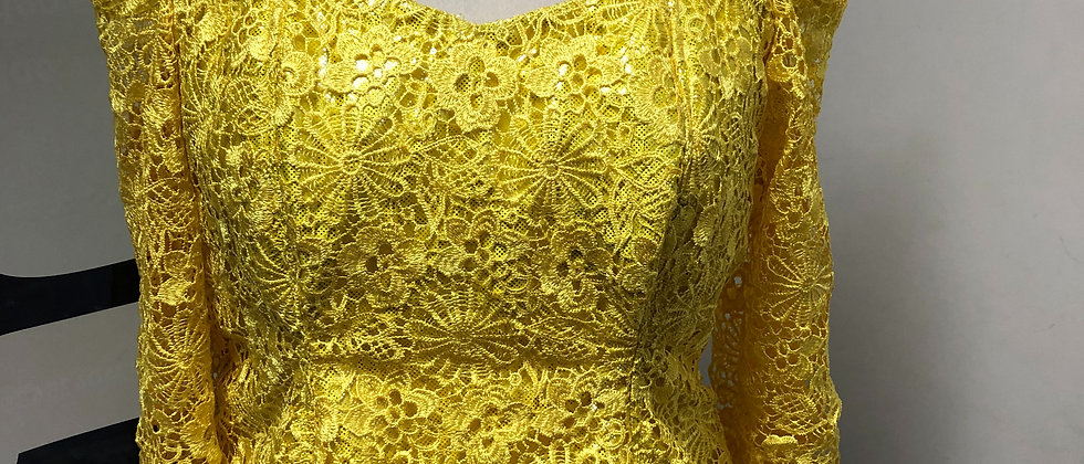 Cold shoulder Cord Lace Yellow Blouse