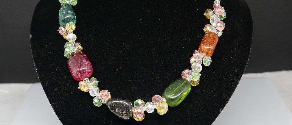 Precious stone Necklace, Multi-Colour Semi-Precious Stones Glass Bead Necklace
