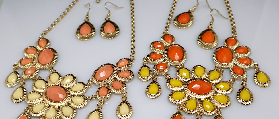 Flower Design Necklace and Earring Set