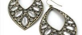 Burnished Gold Diamante Teardrops Shape Earring