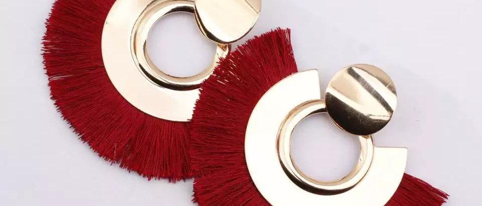 Fan Shape Ladies Tassel Statement Gold Colour Earring
