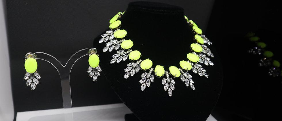 Crystal Diamanté Leaf Statement Necklace and Earring Set