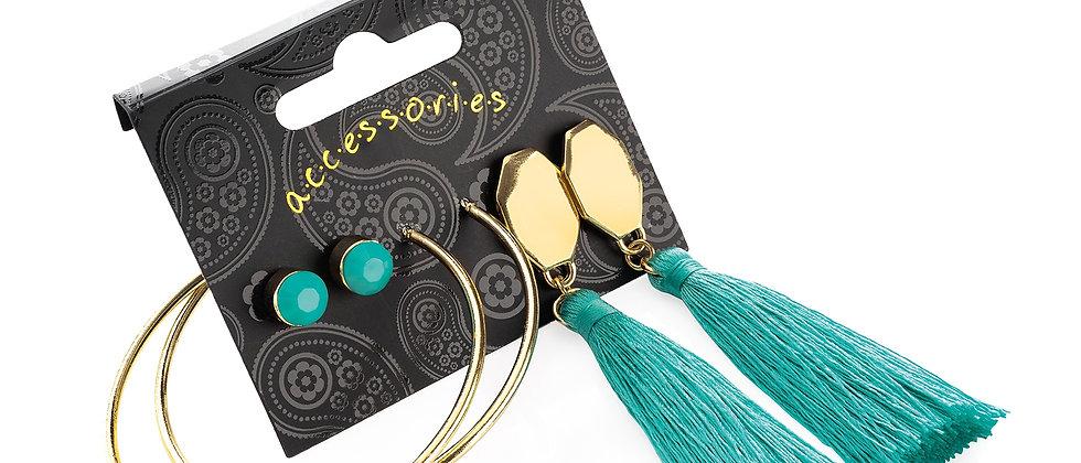 Gold colour stud, hoop and aqua green tassel drop earring set